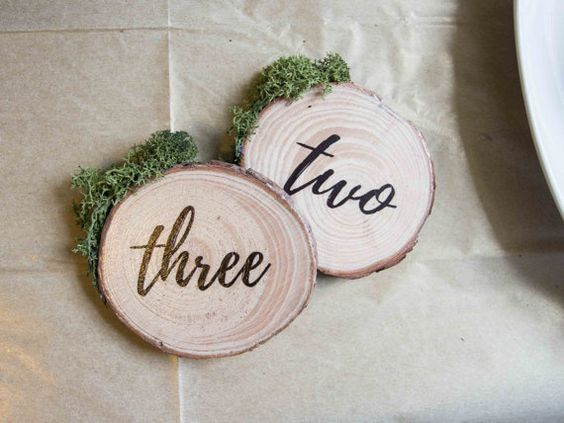 Hand made wood slice table numbers for your by thatcraftybrit