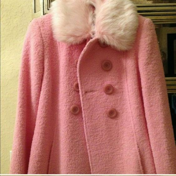 ADORABLE wool coat with fur by guess Light pink guess brand wool jacket. 80% wool which will keep you warm. Worn once, like new!!!  Tags: Winter coat jacket designer fur collar warm new girly sexy high fashion double breasted peacoat Guess Jackets & Coats Pea Coats
