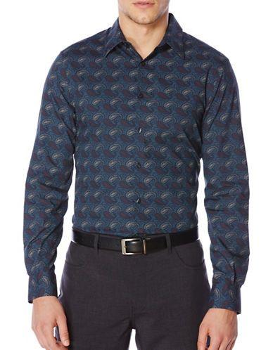 Perry Ellis Regular Fit Paisley Print Shirt Men's Eclipse Grey XX-Larg