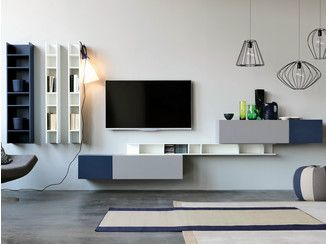 Sectional wall-mounted lacquered storage wall CITYLIFE 14 - Doimo CityLine