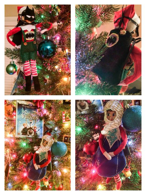 "DAY 10: Elf on the Shelf costumes. ""Let it go, let it go! Can't hold it back anymore!"" AND ""Na, na, na, na, na, na, Batman!"""