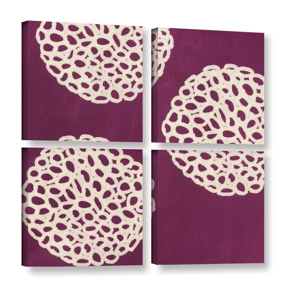 ArtWall Linda Woods's Golden Blooms IV 4 Piece Gallery Wrapped Canvas Square Set