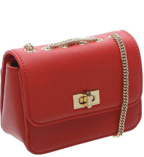 Bolsa Tiracolo Pequena Textura Vermelha