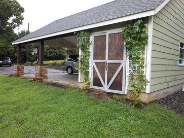 Traditional sheds and garage design on pinterest for Carport shop combo