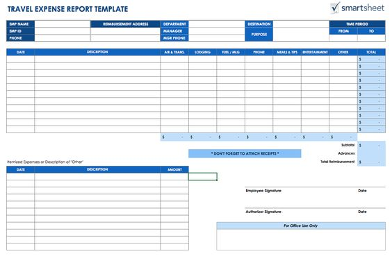 Free Expense Report Templates Smartsheet Blank Forms RV   Free Printable  Expense Report Forms  Printable Expense Report