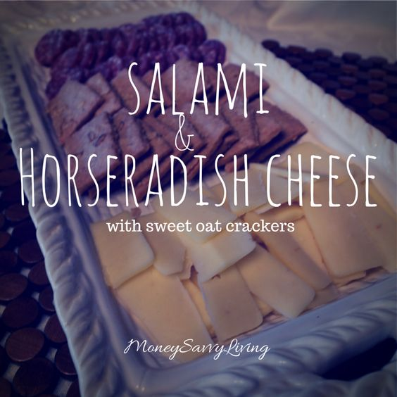 Hors D'oeuvre: Salami, Horseradish Cheese and Sweet Oatmeal Crackers  #appetizer #holiday #party