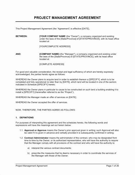 Project Management Contract Template In 2020 Project Management