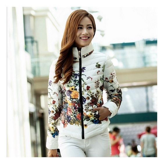 Duck Down Jacket Floral Printing Long Sleeve Slim Zipper Stand Collar Coldproof at Amazon Women's Coats Shop