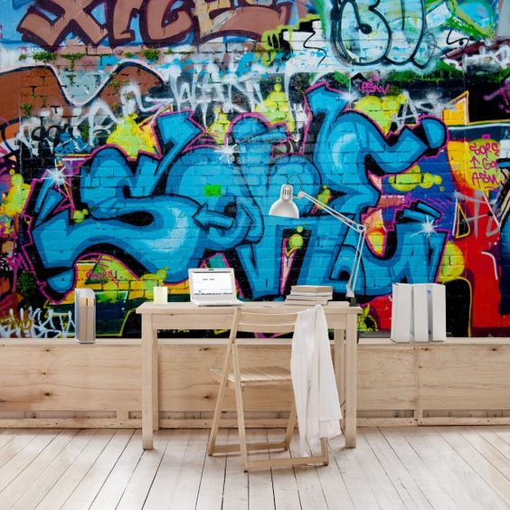 #Vliestapeten - Colours of Graffiti - Fototapete Breit #Graffiti #sprayen #streetlife #skater #yolo