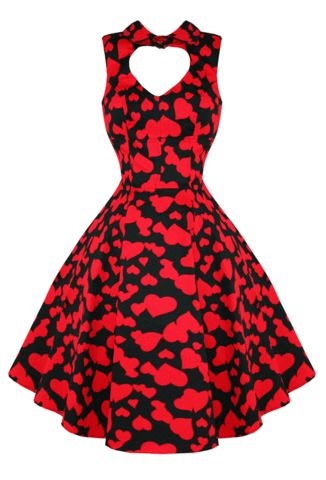 Sweetheart Valentine Red Heart Print Rockabilly Retro Swing Dress ...