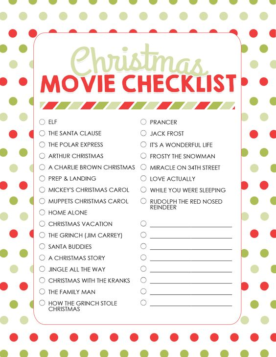 How to Plan a Christmas Movie Night (with Free Printables Photo - christmas checklist template