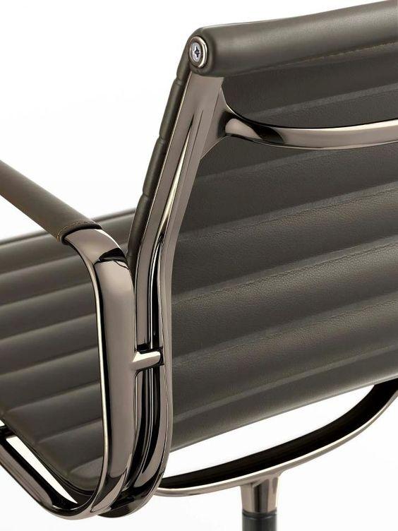 vitra eames aluminium chair ea 108 in new dark chrome finish design charles aluminium chair ea 108
