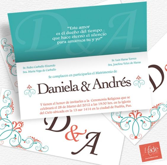 Aqua - Bodas: Invitación de diseño contemporáneo, es perfecta para ese día tan especial.