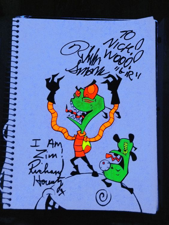 Guess who just met Richard Horvitz, and Rikki Simons.. Did some quick fan art with sharpies, and a ballpoint pen then had the both of them check it out,  and sign it.