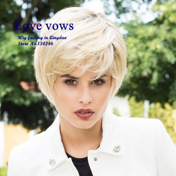 Pelucas cortas Blonde bob hairstyle Natural Looking Short Cool Hair Wig Heat Resistant Fiber Wig for Women Pelucas baratas