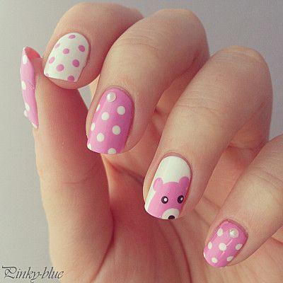 Nail art kawaii - bear & dots nails