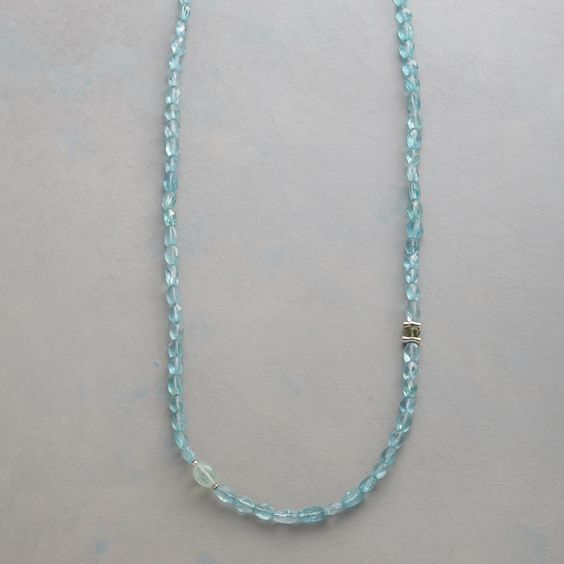 FAR & AWAY necklace The blue of narrow inlets, the majesty of glacier-carved cliffs, captured in a handcrafted necklace combines apatite, sea green fluorite and glittering sterling silver.