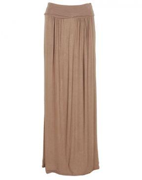 #ChiaraFashion Mocha Block Colour High Waist Maxi Skirt