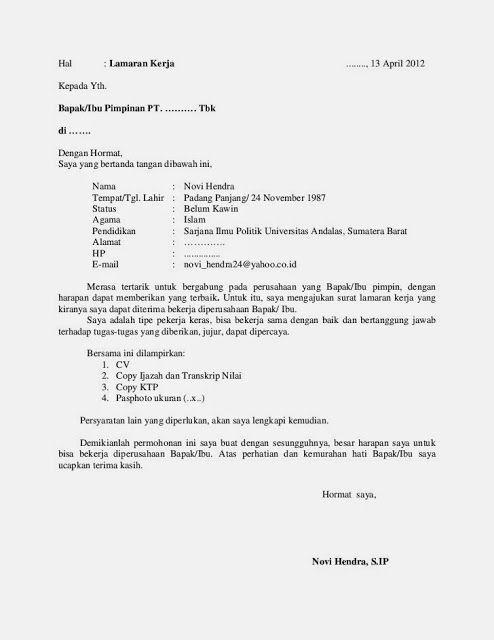 Contoh Surat Lamaran Kerja Tulis Tangan Dan Ketik Komputer