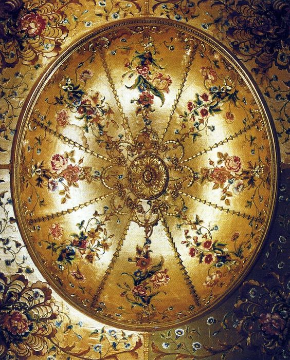Lie on your back on an elaborate 18th c bed, and this is what you'd see. The interior of the tester of Queen Charlotte's State Bed (1772-78)