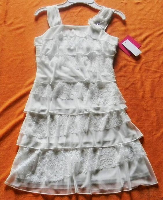 NWT IZ BYER GIRL IVORY LACE & CHIFFON TIERED DRESS - SIZE 7, 8, 10, 12, 14 OR 16 #Dressy
