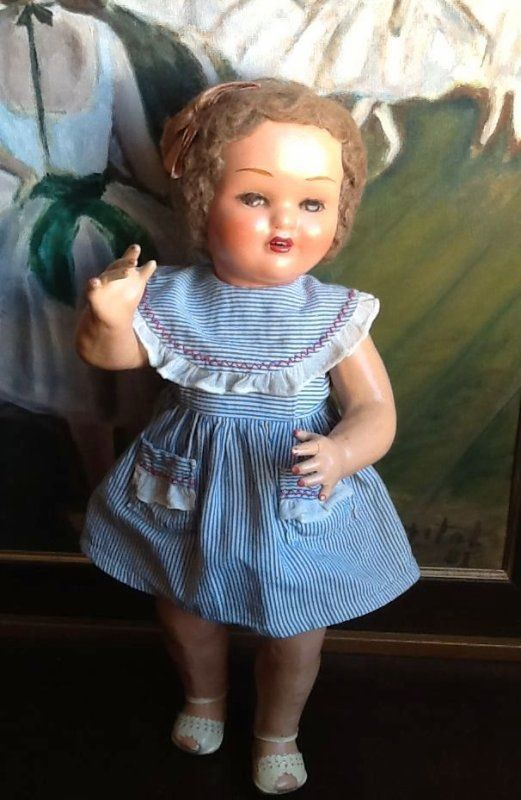 Antique spanish MARICELA with original wig, dress and shoes !