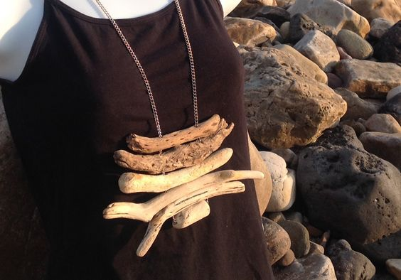 Driftwood feature necklace. Hand-picked natural and organic jewellery. Hippy boho. Long nickel chain. Beach style summer style. by CoventinaCreations on Etsy