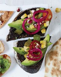 Pumpernickel with Avocado, Charred Corn and Tomato Recipe from Food & Wine