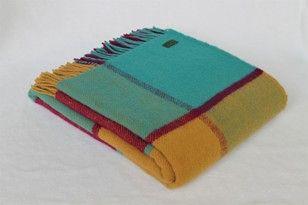 Block Check pure new wool throw - Jade/Gold/Raspberry