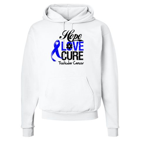 Testicular Cancer Hope Love Cure Hooded Sweatshirts  #TesticularCancerHope #TesticularCancerAwareness #TesticularCancerShirts