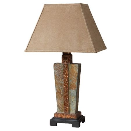 Hand-carved slate table lamp with hammered copper details.   Product: Table lampConstruction Material: Hand-carve...