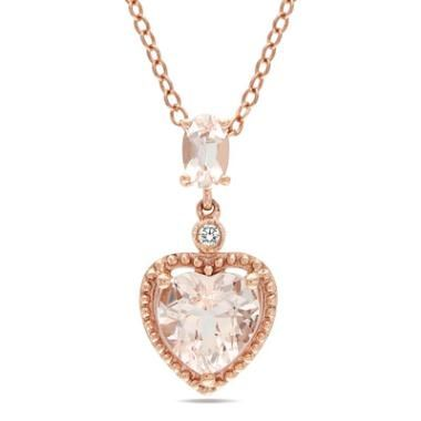 Heart-Shaped Morganite and Diamond Accent Drop Pendant in 10K Rose Gold - 17""