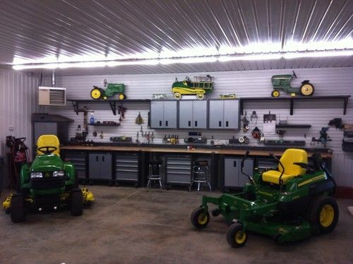 interior of pole barn garage only my husband would have his tractor also pole barnes. Black Bedroom Furniture Sets. Home Design Ideas