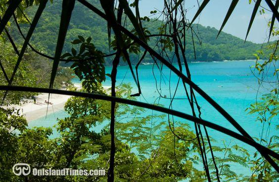 Virgin Islands National Park on St John, USVI. Jungle view of Trunk Bay Beach and cay.