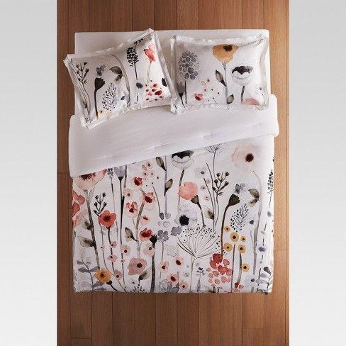 White Watercolor Floral Comforter Sham Set Threshold Target