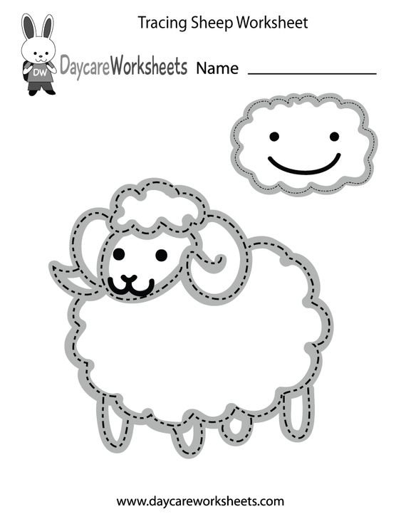 Preschoolers can trace a sheep and a cloud and then color them in ...