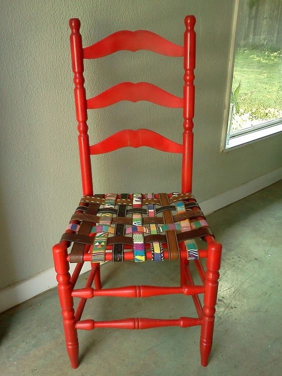 The tattered cane seat of this old wooden chair was removed and replaced with belts. Isn't it fantastic?   Made by Lori Tidwell Wyant (whose pin I'm repinning), who also made this awesome upcycled belt chair: http://pinterest.com/pin/169729479676224708/