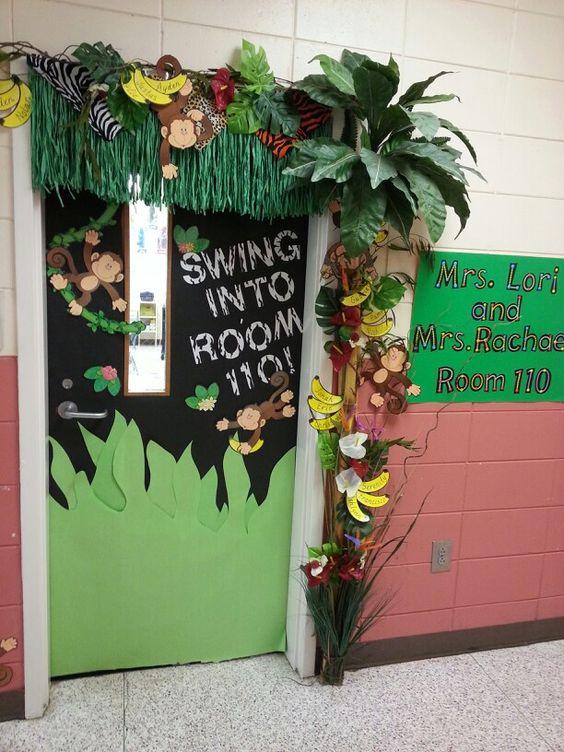 Jungle themed back to school door