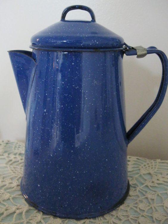 Vintage Blue Graniteware Enamelware Coffee Pot by Sisters2Vintage, $14.00