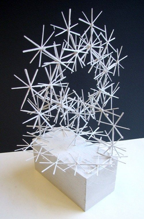Linear Sculpture Made With Glued Together And Painted