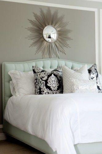 Best White Bedding Gray Wall Mint Green Tufted Headboard 400 x 300