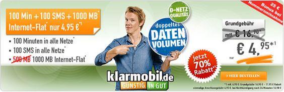 Vodafone Netz: 1GB Internet Flat + 100 Freiminuten für 4,95€ http://www.simdealz.de/vodafone/klarmobil-smartphone-flat/
