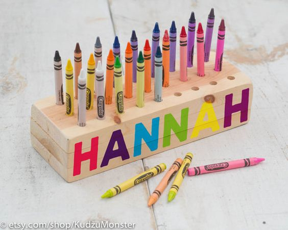wooden crayon holder wood block with holes personalized with name by kudzumonster the crafty. Black Bedroom Furniture Sets. Home Design Ideas