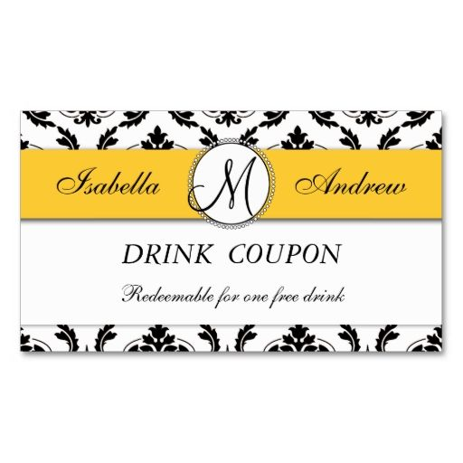 damask yellow wedding free drink coupon card business card templates  make your own business