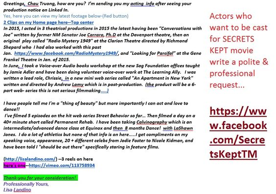 SECRETS KEPT movie FORCES YOU TO IMAGINE A LOVE SO TRUE EVEN DEATH - professional actor resume