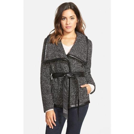 Junior Krush Tweed Wrap Coat (1465 MXN) ❤ liked on Polyvore
