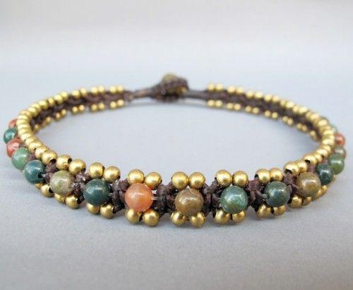 Pretty moss agate anklet  #handmade #jewelry #beading #knotting #macrame