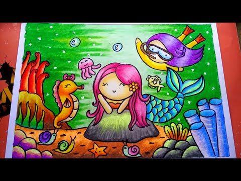How To Draw Mermaid Easy Cara Menggambar Putri Duyung Mewarnai