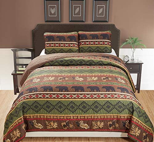 Rustic Western Southwestern Brown Quilt Set With Native American