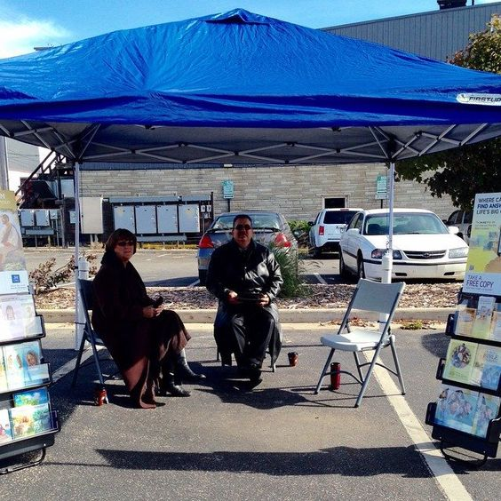 Public cart witnessing at our local farmers market in La Porte, IN on 10/11/14.
